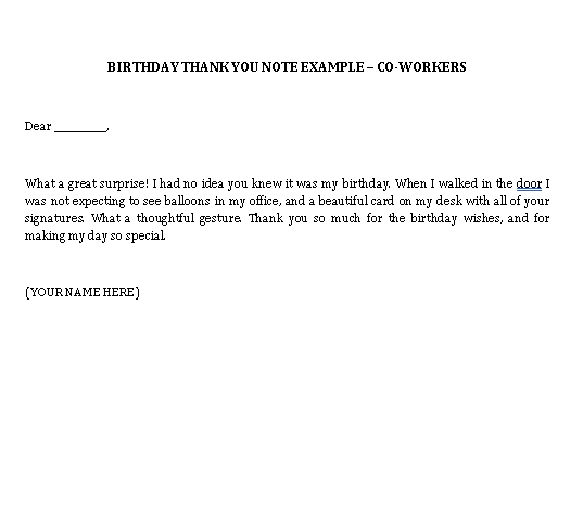 Sample Template birthday thank you notes to coworkers