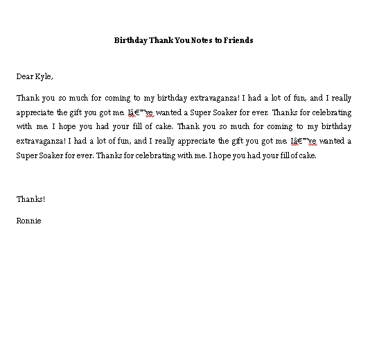 Sample Template birthday thank you notes to friends