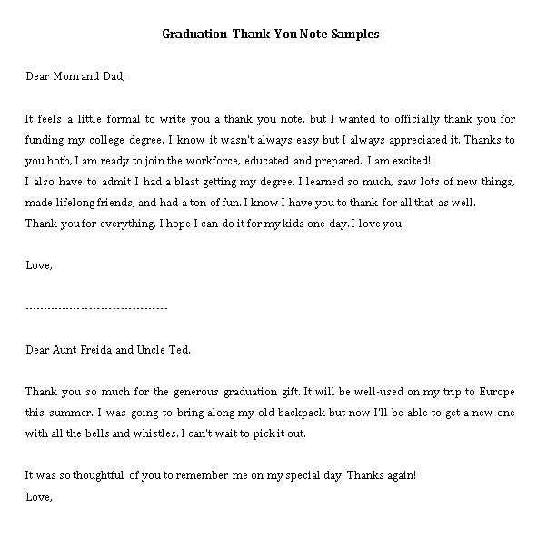 Sample Template college graduation thank you notes