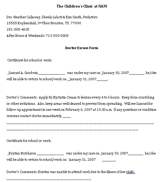 Sample Template doctors note 11