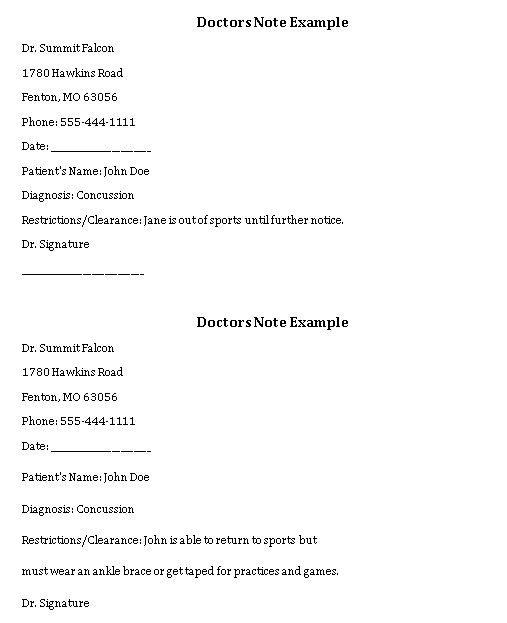 Sample Template doctors note 001