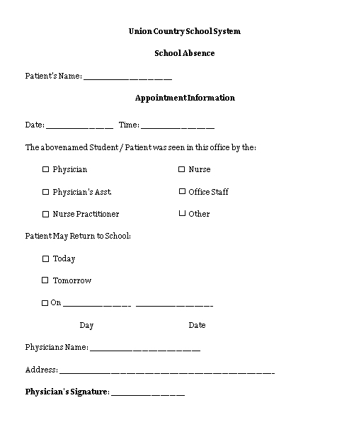 Sample Template doctors note for school absent