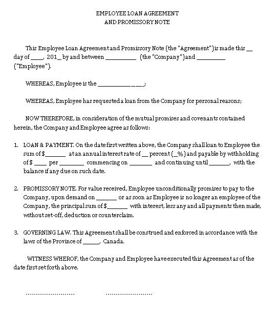Sample Template employee loan promissory note