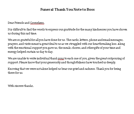 Sample Template funeral thank you note to boss