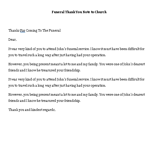 Sample Template funeral thank you note to church