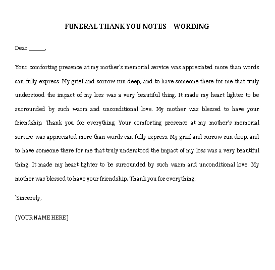 Sample Template funeral thank you note wording