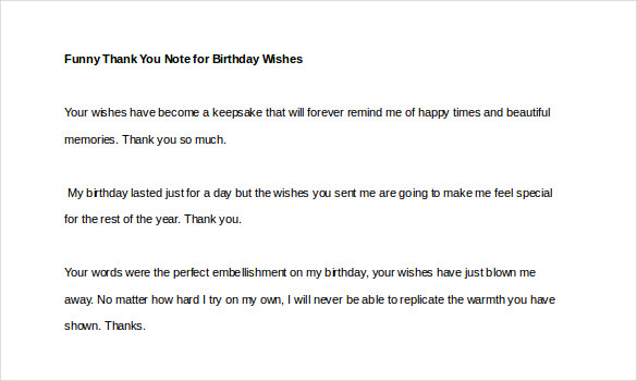 Sample Template funny thank you note for birthday wishes