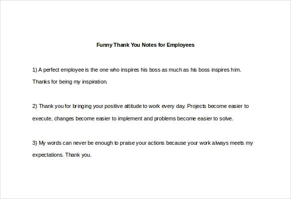 Sample Template funny thank you notes for employees3