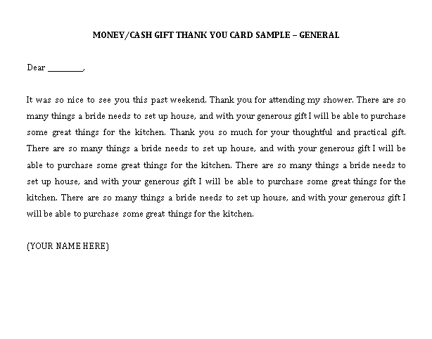 Sample Template graduation thank you note s for money