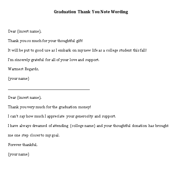 Sample Template graduation thank you note wording