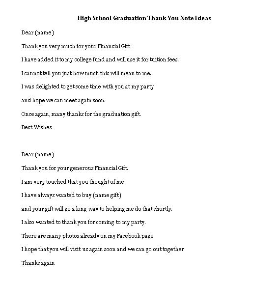 Sample Template high school graduation thank you note ideas