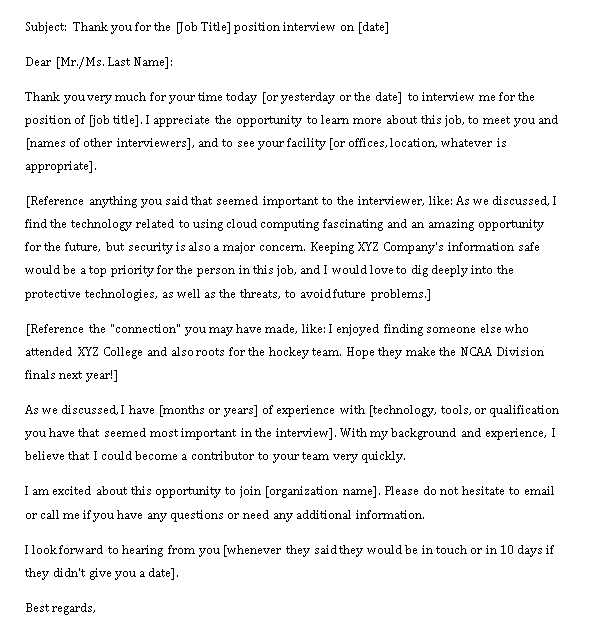 Sample Template interview thank you note email