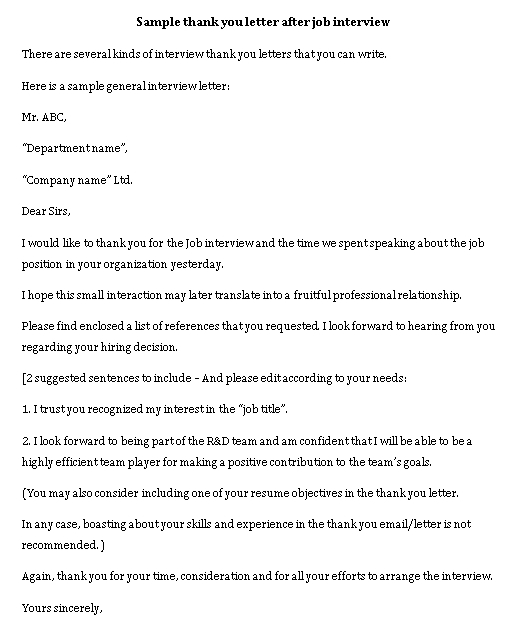 Sample Template interview thank you note internal job