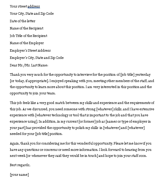 Sample Template job interview thank you note