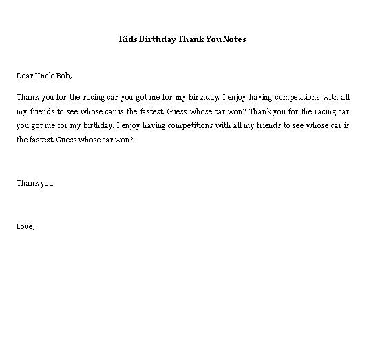 Sample Template kids birthday thank you notes