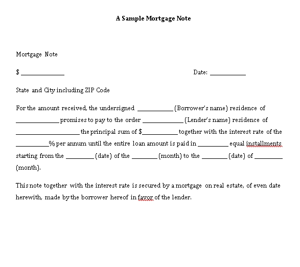 Sample Template mortgage promissory note
