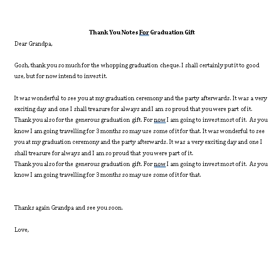 Sample Template perfect graduation thank you note