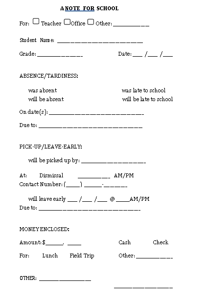 Sample Template printable parent note form