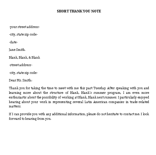 Sample Template short interview thank you note