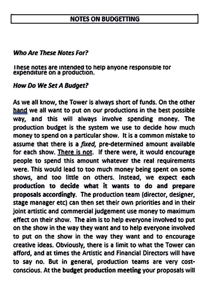 Sample Theater Production Budget