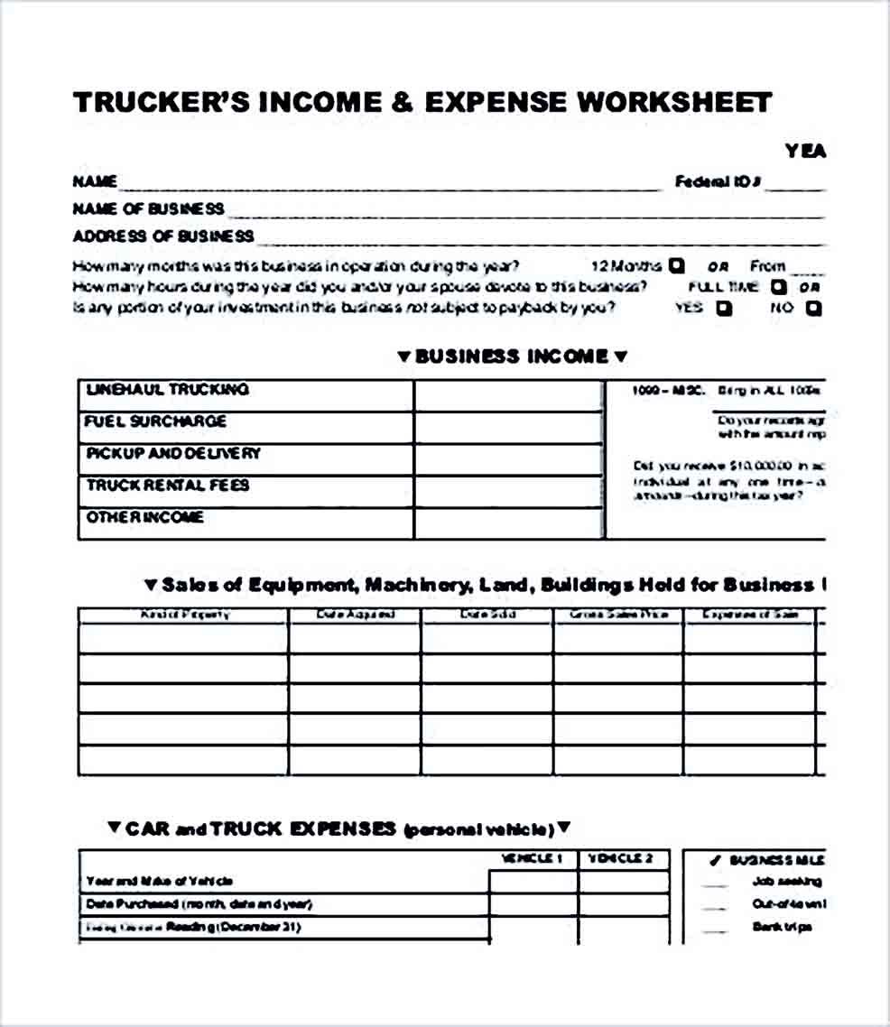Sample Trucking Company Budget