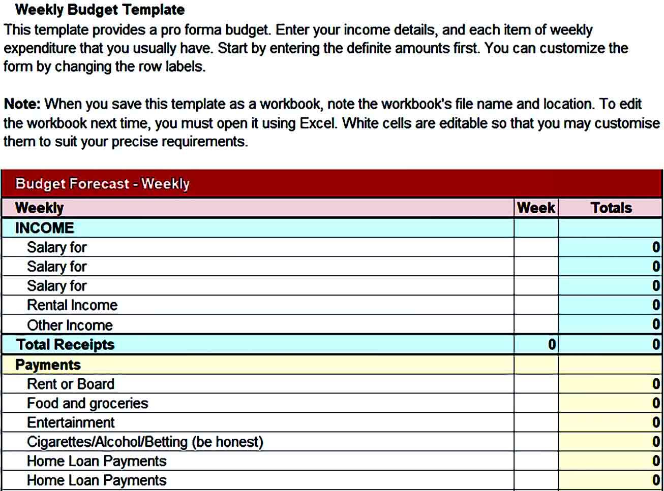 Sample Weekly Budget Printables