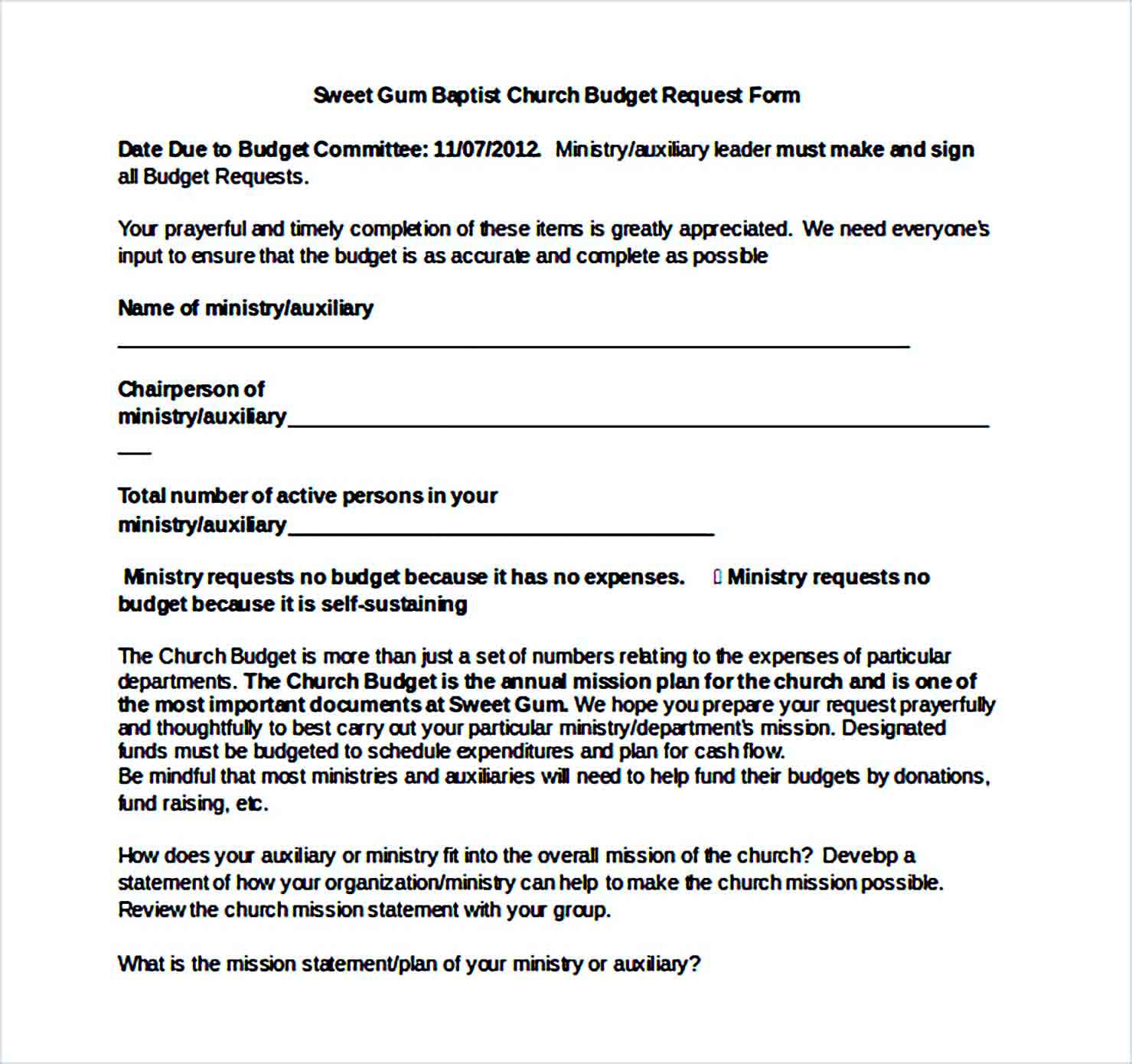 Sample baptist church budget Word Form