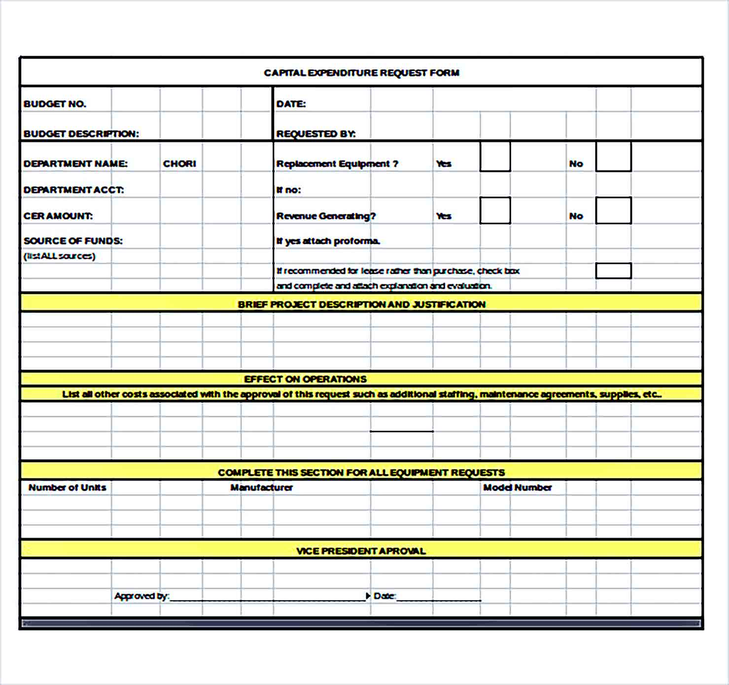 Sample capital expenditure budget request Form Excel