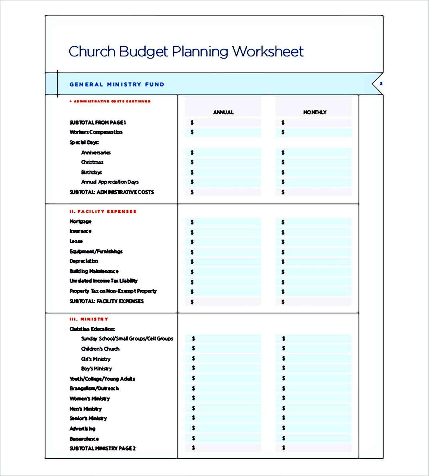 Sample catholic church budget Planning