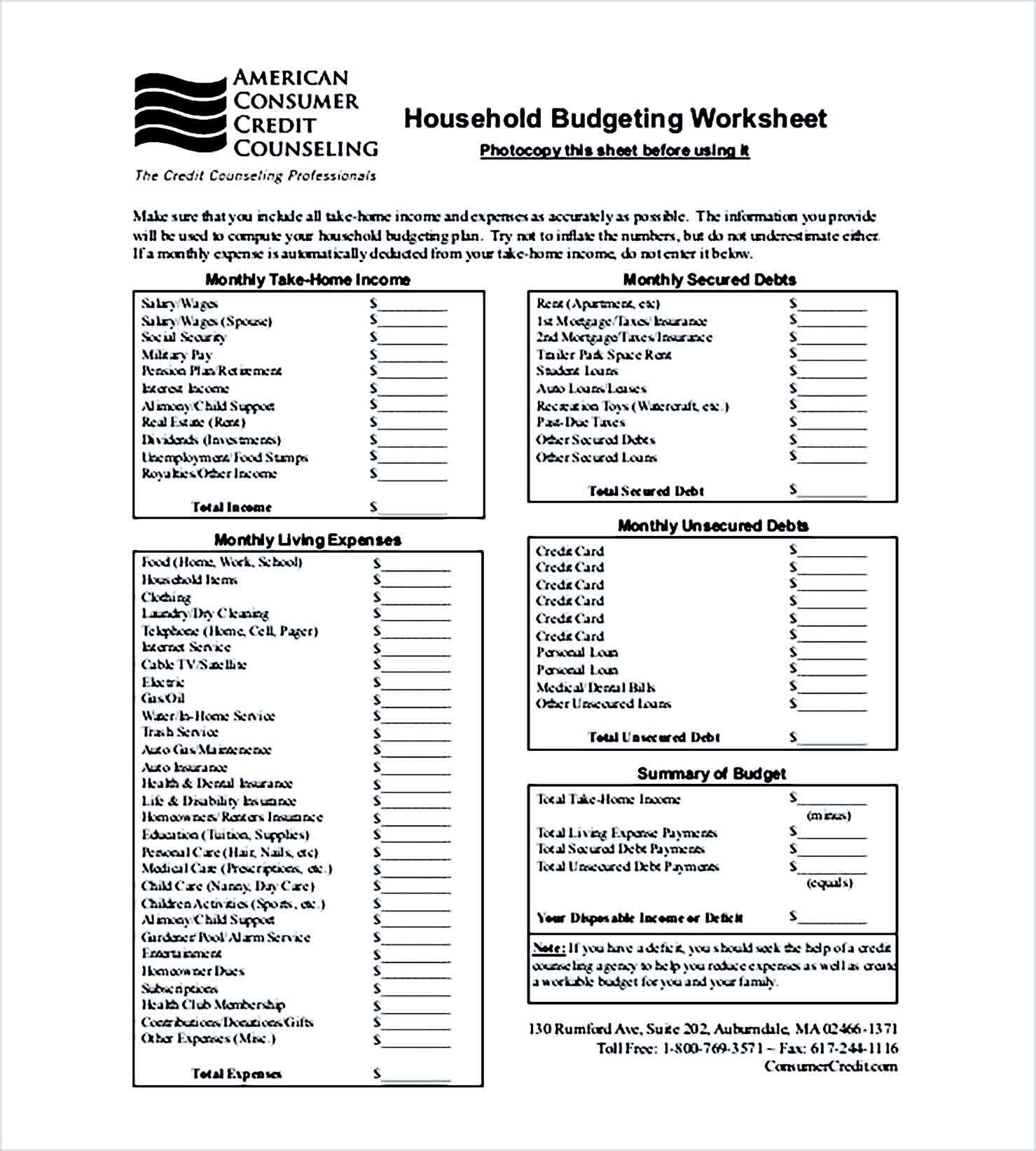 Sample household budget tracker Format
