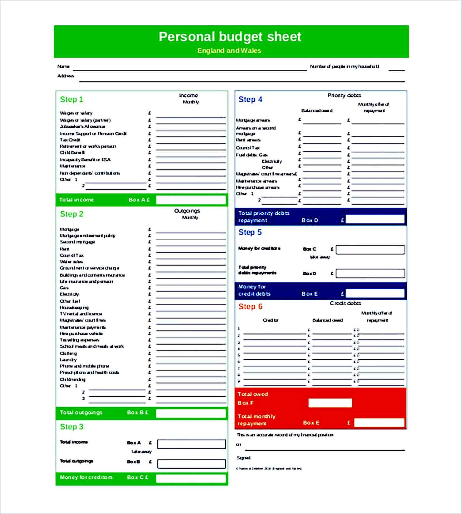 Sample personal budget sheet North Somerset Council