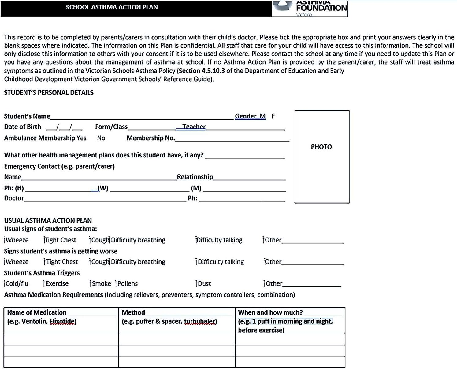 School Asthma Action Plan Template
