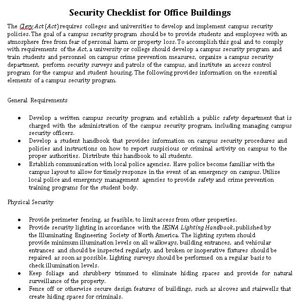Security Checklist for Office Buildings Template
