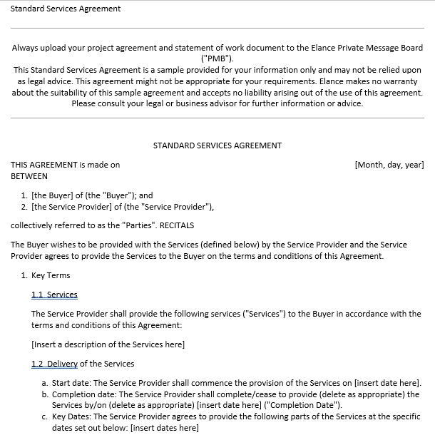 Service Agent Agreement Template