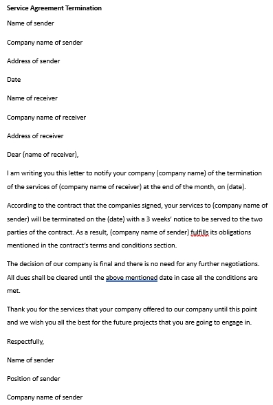 Service Agreement Termination