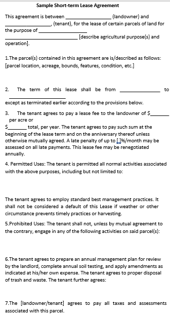 Short Term Commercial Lease Agreement Template