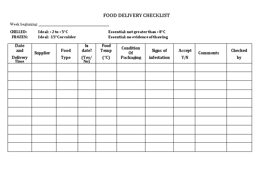 Simple Delivery Checklist Template