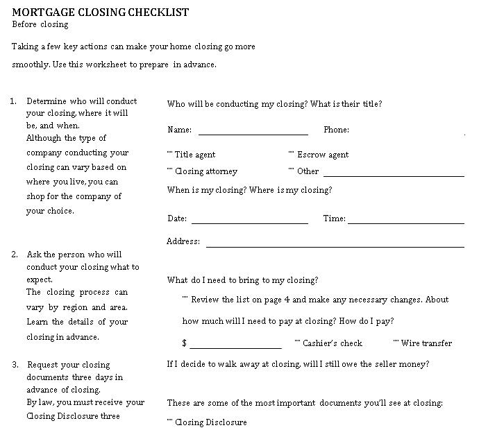Simple Mortgage Closing Checklist Template