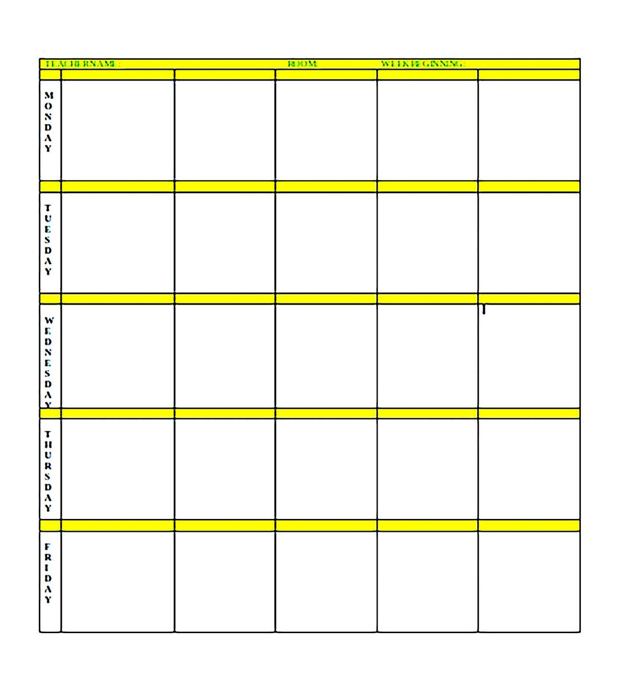 Simple blank lesson plan template