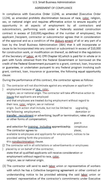 Small Business Administration Agreement