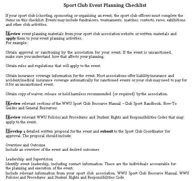 Sport Club Event Planning Checklist