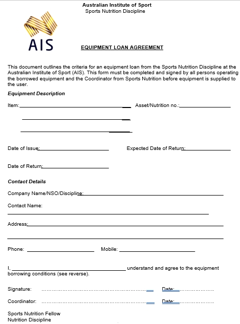 Sports Nutrition Equipment Loan Agreement
