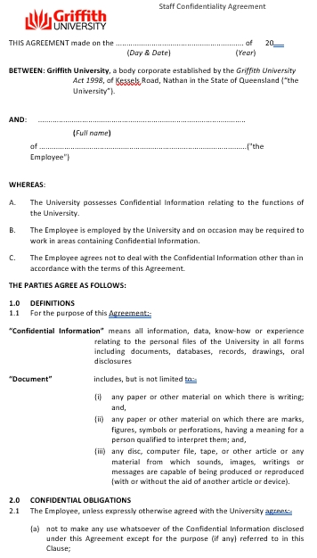 Staff Confidentiality Agreement Template