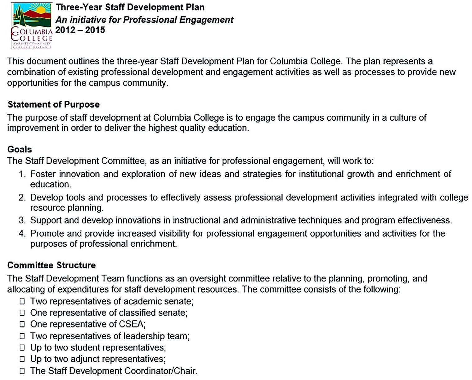 Staff Development Plan Outline