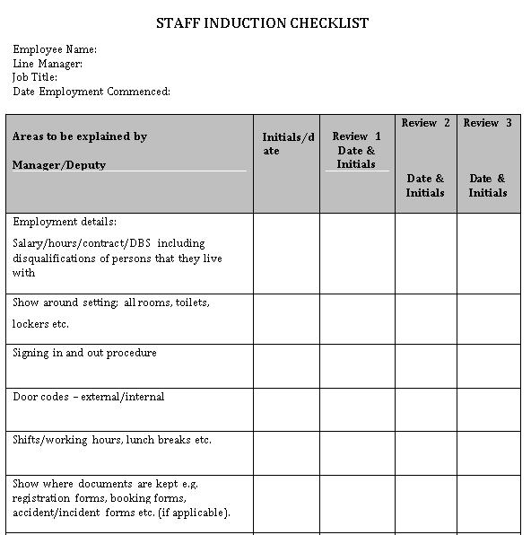 Staff Induction Checklist Sample