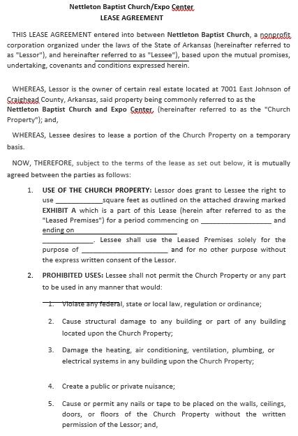 Standard Church Lease Agreement Template