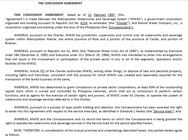 Standard Concession Agreement