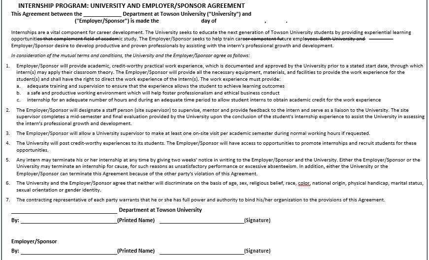 Standard Employer Internship Agreement in PDF