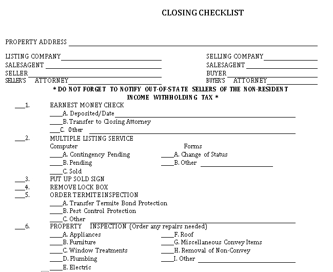 Standard Property Closing Checklist Template