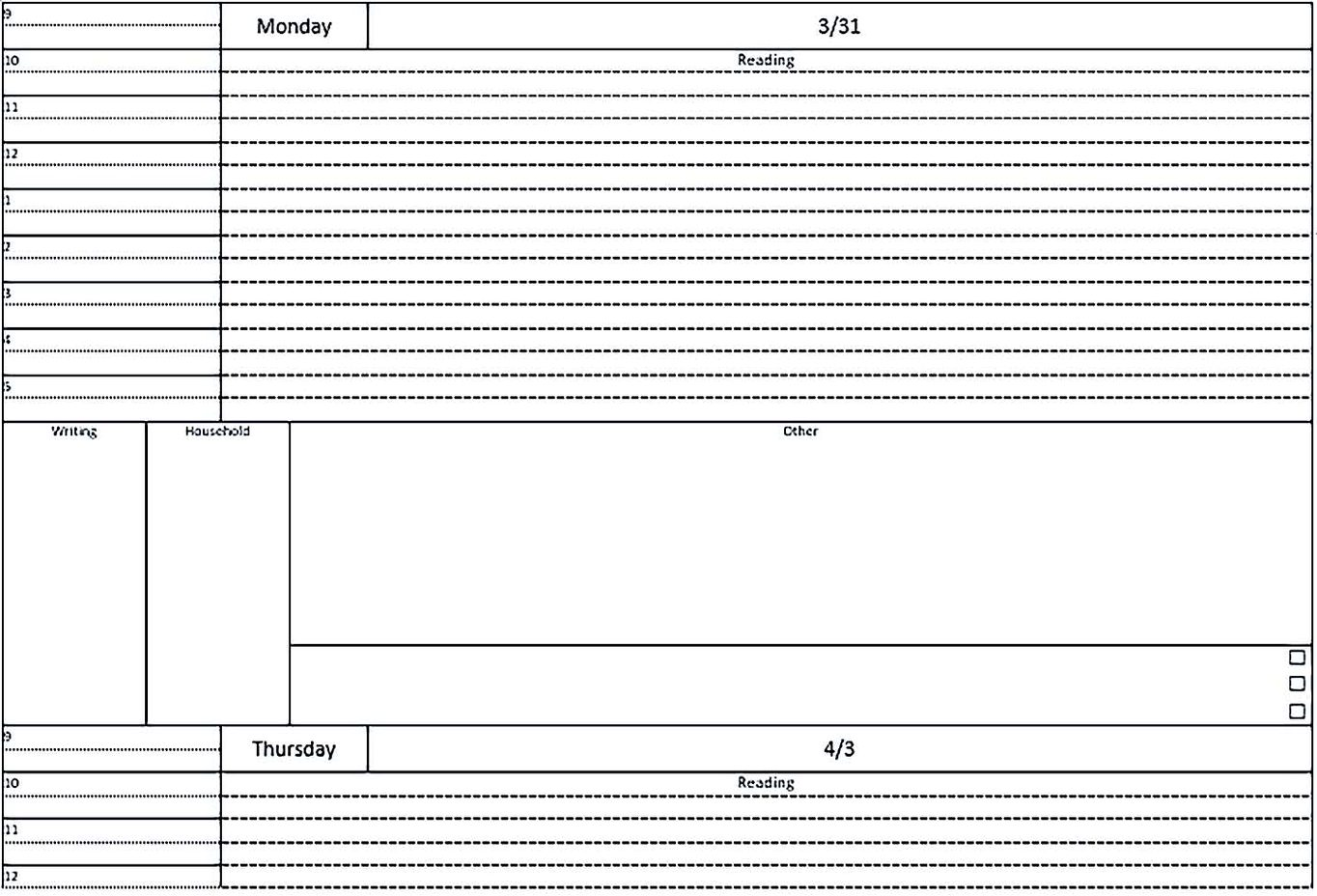 Student Daily Planner Template